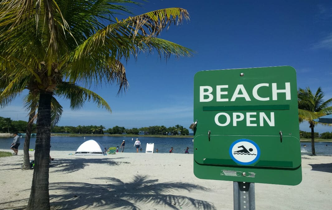 Beach is open signage